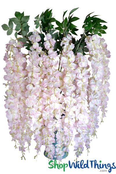 "Wisteria Floral Spray ""Sukey"" - 38"" Blush Pink"