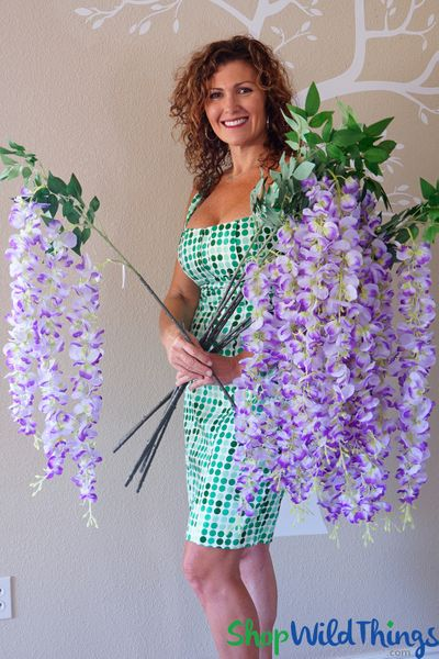 "COMING SOON! Wisteria Floral Spray ""Sukey"" - 38"" Purple"