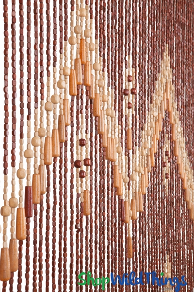 "Coming Soon! Wooden Bead Curtain - ""River"" Tan Accents - 35"" x 78"" - 52 Strands (Extra Coverage)"