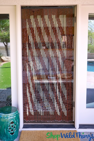 "Wooden Bead Curtain - ""Diagonal Dream"" Brown & Cream Stripes - 35"" x 6 1/2' - 60 Strands (Extra Coverage)"