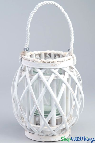 Hanging Wooden Candle Lantern Barrel - White 9""