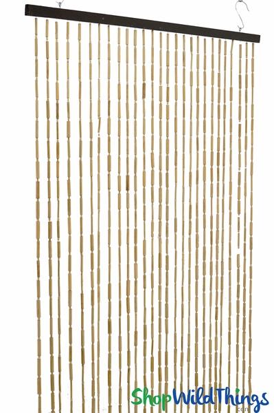 "Wooden & Bamboo Bead Curtain ""Shelley"" - 35 1/2"" x 68"" - 27 Strands"