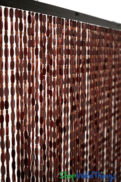 "COMING SOON! Wooden Bead Curtain - ""Ashford Venetian Red"" - 35 1/2"" x 77"" - 52 Strands (Extra Coverage)"