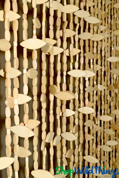 "Wooden Bead Curtain ""Breezy"" - 35 1/2"" x 72"" - 26 Strands"