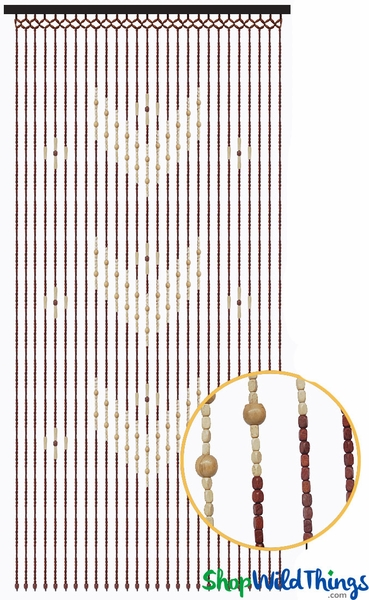 "Wooden Bead Curtain - ""Hazel"" - 35"" x 70"" - 27 Strands"