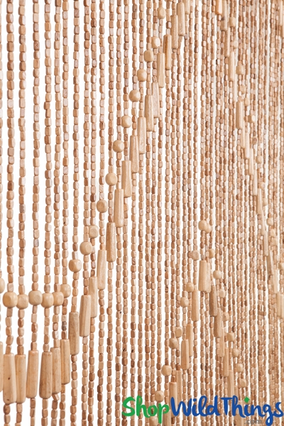 "Wooden Bead Curtain - ""Lark"" Light - 35"" x 76"" - 52 Strands (Extra Coverage)"
