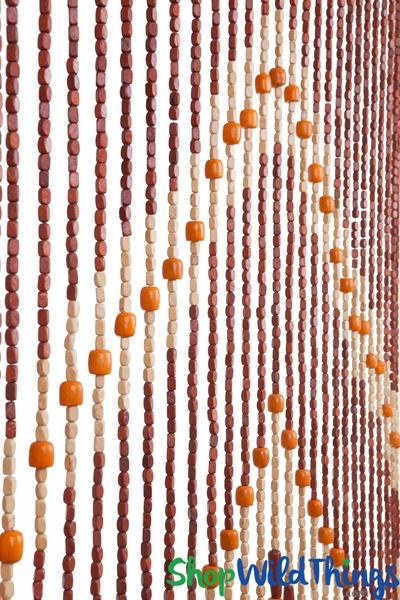 "COMING SOON! Wooden Bead Curtain - ""Maxie"" - 35"" x 69"" - 27 Strands"
