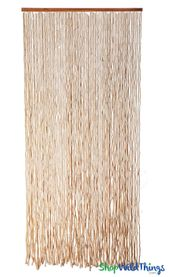 "Wooden Bead Curtain ""Molokai Natural"" 35"" x 78""- 80 Strands Super Thick!"
