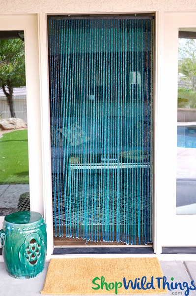 """Wooden Bead Curtain - """"Ocean"""" Turquoise & Cyan - 35"""" x 6 1/2' - 60 Strands (Extra Coverage)"""