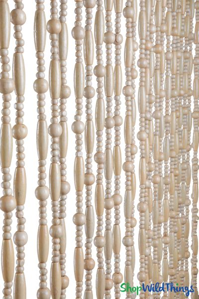 "Wooden Bead Curtain ""Sunnyvale Natural"" 35"" x 78""- 31 Strands"