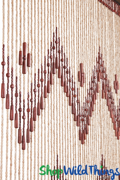 "Wooden Bead Curtain - ""Waverly"" - 35"" x 76"" - 52 Strands (Extra Coverage)"