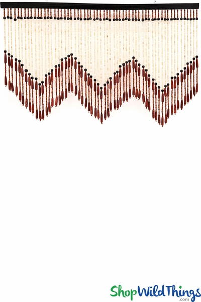 "COMING SOON! Wooden Bead Valance - ""Brisbane"" - Dark Brown w/Point 35"" x 21"" - 60 Strands"