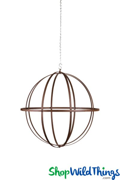 Wrought Iron Folding Ball Sphere, Antique Finish, 18""