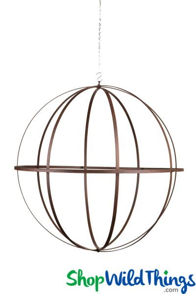 Wrought Iron Folding Ball Sphere, Antique Finish, 24""