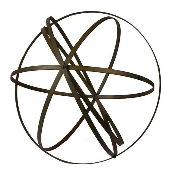 "Wrought Iron Folding Ball, Patina Finish 18"" - Floral Orb Garden Sphere"