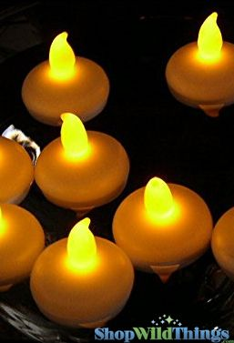 "LED Floating Candles, 2"" Wide, Yellow - Set of 12"