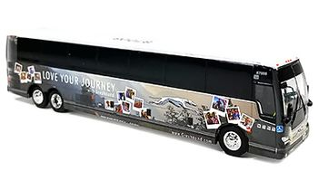"""Prevost X3-45: Greyhound """"Love Your Journey"""" - Iconic Replicas 87-0275 - click to enlarge"""