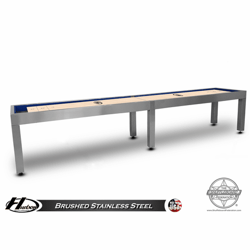 16' Brushed Stainless Steel Hudson Metro Shuffleboard Table