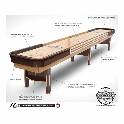 18' Grand Hudson Deluxe Hybrid Shuffleboard Table