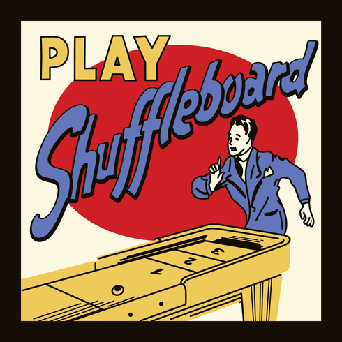 "Play Shuffleboard 12"" x 12"" or 16"" x 16"" Framed Print"