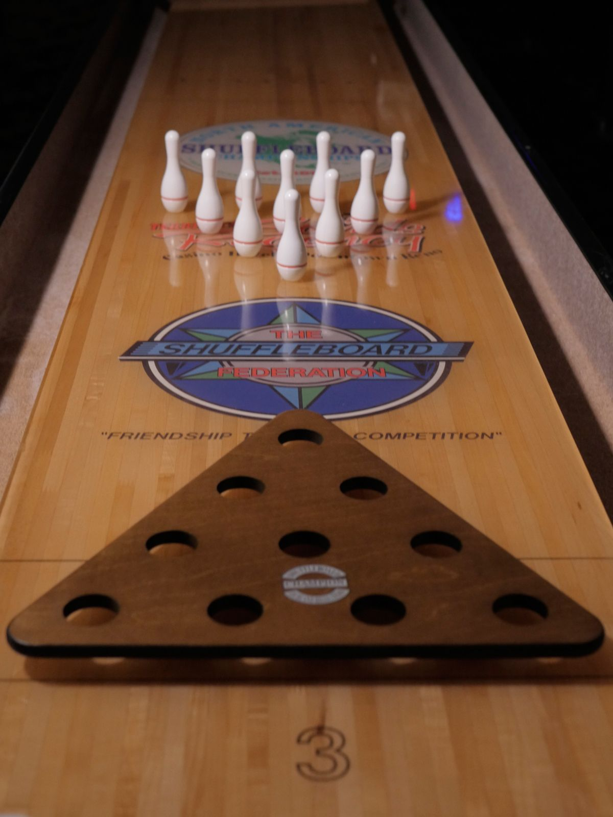 Shuffleboard Bowling Game Set With Pins And Rack