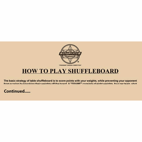Wall Signs - How to Play Shuffleboard