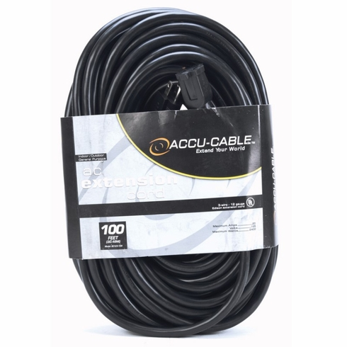ACCU-CABLE EC-123-100 Black Cable AC Extension Cord