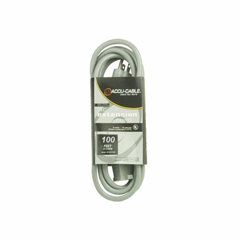 ACCU-CABLE EC-123-100G Gray AC Extension Cord