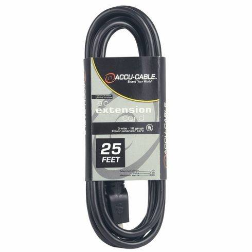 ACCU-CABLE EC-123-25 Black Cable AC Extension Cord