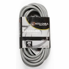 ACCU-CABLE EC-123-3FER25G Gray AC Extension Cord