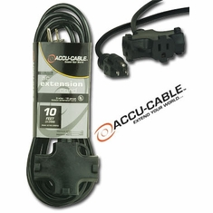 ACCU-CABLE EC-163-3FER10G Gray AC Extension Cord