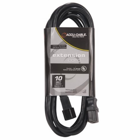 ACCU-CABLE ECCOM-10 Black Cable AC Extension Cord