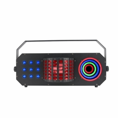 ADJ BOOM BOX FX3 3-FX-IN-1 fixture with a Mini Dekker style effect, Matrix wash and color ring for eye candy.