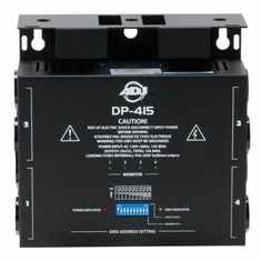 AMERICAN DJ DP-415 4 channel, DMX dimmer/switch pack with dip switches. 500 W per channel. Max power: 15A total, 5A per channel.