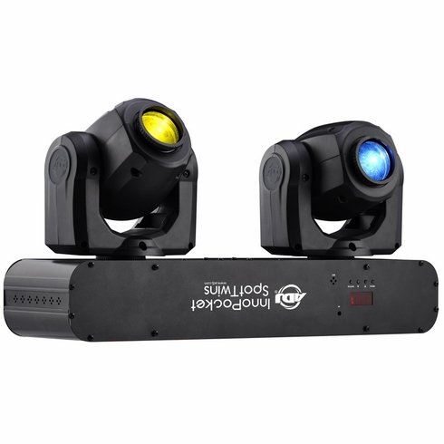AMERICAN DJ INNO POCKET SPOT TWIN mini Moving Heads, each with a bright white 12W LED source