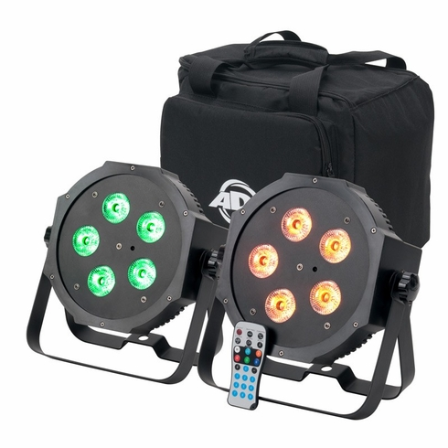 AMERICAN DJ MEGA 64 HEX PACK Pack includes, 2 x par 64 profile with 5 x 10 watt HEX (RGBWA+UV) LEDs, plus a carrying bag and IR remote