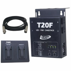AMERICAN DJ T20 F 4 channel chase control pack with foot controller and 15 ft XLR cable. 16 built-in programs: 8 normal chase programs and 8 chase programs with fade time.