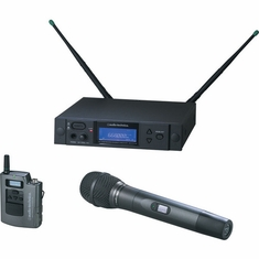 AUDIO-TECHNICA AEW-4314AC 4000 Series Wireless System includes: AEW-R4100 receiver, AEW-T1000a UniPak transmitter, and AEW-T4100a cardioid dynamic microphone/transmitter, 541.500-566.375 MHz (TV 25-30)