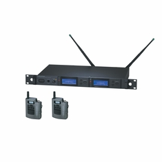AUDIO-TECHNICA AEW-5111AC 5000 Series Wireless System includes: AEW-R5200 dual receiver and two AEW-T1000a UniPak transmitters, 541.500-566.375 MHz (TV 25-30)