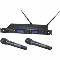 AUDIO-TECHNICA AEW-5255AC 5000 Series Wireless System includes: AEW-R5200 dual receiver and two AEW-T5400a handheld cardioid condenser microphone/transmitters, 541.500-566.375 MHz (TV 25-30)