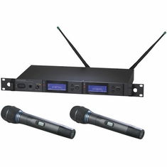AUDIO-TECHNICA AEW-5255AD 5000 Series Wireless System includes: AEW-R5200 dual receiver and two AEW-T5400a handheld cardioid condenser microphone/transmitters, 655.500-680.375 MHz (TV 44-49)
