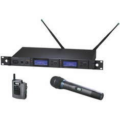 AUDIO-TECHNICA AEW-5313AC 5000 Series Wireless System includes: AEW-R5200 dual receiver, AEW-T1000a UniPak transmitter and AEW-T3300a handheld cardioid condenser microphone/transmitter, 541.500-566.375 MHz (TV 25-30)