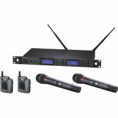 AUDIO-TECHNICA AEW-5314AD 5000 Series Wireless System includes: AEW-R5200 dual receiver, AEW-T1000a UniPak transmitter and AEW-T4100a handheld cardioid dynamic microphone/transmitter, 655.500-680.375 MHz (TV 44-49)