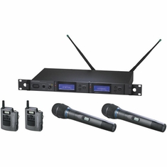 AUDIO-TECHNICA AEW-5315AD 5000 Series Wireless System includes: AEW-R5200 dual receiver, AEW-T1000a UniPak transmitter and AEW-T5400a handheld cardioid condenser microphone/transmitter, 655.500-680.375 MHz (TV 44-49)