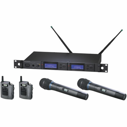 AUDIO-TECHNICA AEW-5415AC 5000 Series Wireless System includes: AEW-R5200 dual receiver, two AEW-T1000a UniPak transmitters, and two AEW-T5400a cardioid condenser microphone/transmitters, 541.500-566.375 MHz (TV 25-30)