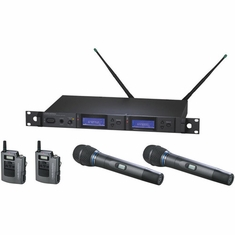 AUDIO-TECHNICA AEW-5415AD 5000 Series Wireless System includes: AEW-R5200 dual receiver, two AEW-T1000a UniPak transmitters, and two AEW-T5400a cardioid condenser microphone/transmitters, 655.500-680.375 MHz (TV 44-49)