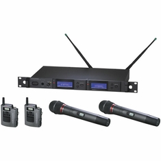 AUDIO-TECHNICA AEW-5416AC 5000 Series Wireless System includes: AEW-R5200 dual receiver, two AEW-T1000a UniPak transmitters, and two AEW-T6100a hypercardioid dynamic microphone/transmitters, 541.500-566.375 MHz (TV 25-30)