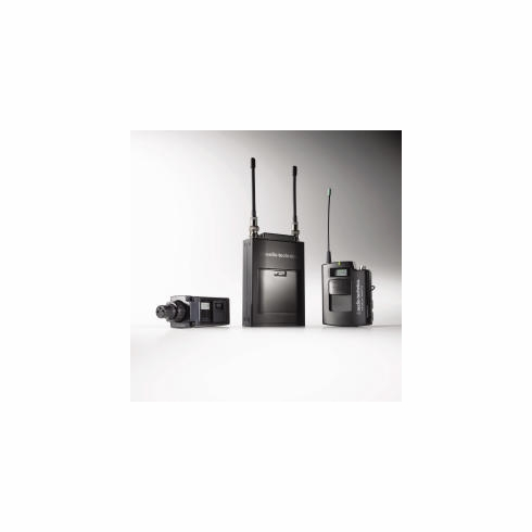AUDIO-TECHNICA ATW-1813D 1800 Series Single-channel Wireless System includes: ATW-R1810 receiver, one ATW-T1801 UniPak transmitter, one ATW-T1802 plug-on transmitter and one lavalier microphone, 655.500-680.375 (TV 44-49)