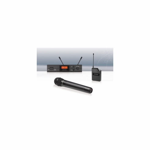 AUDIO-TECHNICA ATW-2120AI 2000 Series Wireless System includes: ATW-R2100a receiver and ATW-T220a handheld cardioid dynamic microphone/transmitter, 487.125-506.500 MHz (TV 16-20)