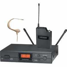 AUDIO-TECHNICA ATW-2193AD-TH 2000 Series Wireless System includes: ATW-R2100a receiver and ATW-T210a UniPak transmitter with beige MicroEarset omnidirectional headworn microphone, 656.125-678.500 MHz (TV 45-48)